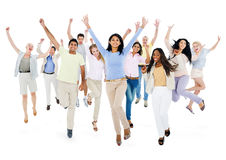 Large Group of People Celebrating Stock Images