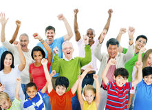 Large Group of People Celebrating Cheerful Concept Stock Photos