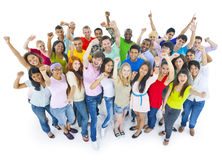 Large Group People Celebrating Enjoying Concept Stock Photo