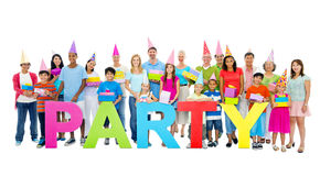 Large Group People Celebrating Enjoying Concept Stock Image