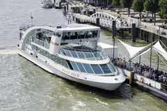 Large group of people checked in for a cruise in Rotterdam Stock Photo