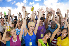 Large Group People  Cheerful Celebrating Concept Stock Photo