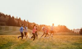 Large group of people cross country running in nature. A large group of people cross country running in nature at sunset royalty free stock photography