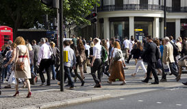 Large group of people crossing a road Royalty Free Stock Photo