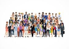 Large group of people. Large group crowd of people adult professionals poster vector illustration Royalty Free Stock Image
