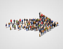 Large group of people crowded in arrow symbol. Way to success business concept. Vector illustration Royalty Free Stock Photography