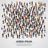 Large group of people crowded on white background. Royalty Free Stock Images