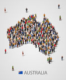 Large group of people in form of Australia map. Background for presentation. Vector illustration Royalty Free Stock Image