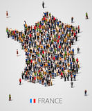 Large group of people in form of France map. Population of France or demographics template. Royalty Free Stock Image