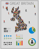 Large group of people in form of Great Britain map with infographics elements. United kingdom map with chart, statistic and visualization templates. Background Royalty Free Stock Images