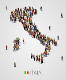 Large group of people in form of Italy map with infographics elements. Italy map. Background for presentation. Stock Photo