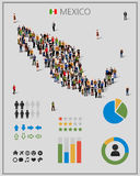 Large group of people in form of Mexico map with infographics elements. Stock Image