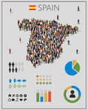 Large group of people in form of Spain map with infographics elements. Stock Photography