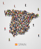 Large group of people in form of Spain map. Population of Spain or demographics template. Background for presentation. stock illustration