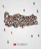 Large group of people in form of Turkey map. Background for presentation. Royalty Free Stock Photos