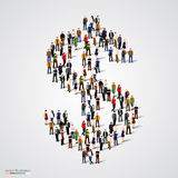 Large group of people forming the dollar sign Royalty Free Stock Images