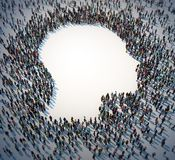Large group of people forming a head symbol royalty free illustration