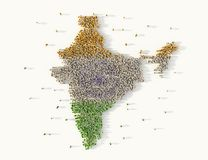Large group of people forming India map concept. 3d illustration vector illustration