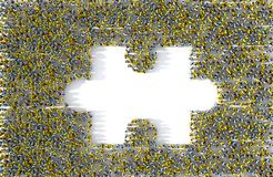 Large group of people forming a missing jigsaw puzzle piece. 3d illustration Stock Photo