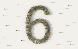 Large group of people forming number six, 6, alphabet text character in social media and community concept on white background. 3d royalty free illustration