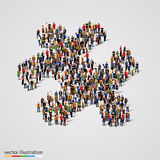 Large group of people forming the puzzle shape. Vector Stock Photo