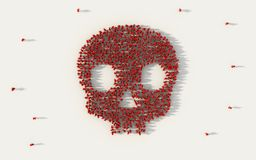Large group of people forming a red skull symbol in social media and community concept on white background. 3d sign of crowd. Illustration from above gathered stock photo