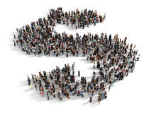 Large group of people forming the symbol of a dollar sign. Conce Stock Images