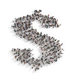 Large group of people forming the symbol of a dollar sign. Royalty Free Stock Photo