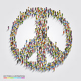Large group of people gathered together in peace sign. Stock Images