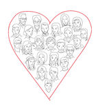 Large group of people heart shape concept vector illustration