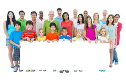 Large Group of People Holding Blank Placard Royalty Free Stock Images