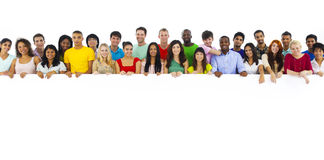 Large Group of People Holding Board Stock Photography