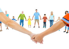Large Group of People Holding Hand Stock Image