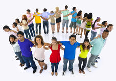 Large Group People Holding Hand Friendship Concept.  Stock Photography
