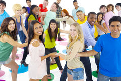 Large Group People Holding Hand Friendship Concept Stock Photo