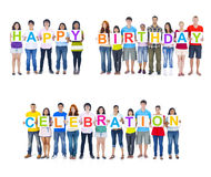 Large Group of People Holding Happy Birthday Board Royalty Free Stock Photo