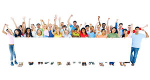 Large Group of People Holding Placard Stock Photo