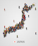 Large group of people in Japan map form. Background for presentation. Stock Photo
