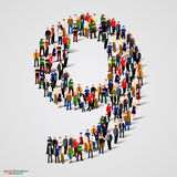 Large group of people in number 9 nine form. Vector illustration Stock Image