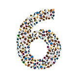 Large group of people in number 6 six form. People font. Vector illustration Stock Photography