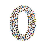 Large group of people in number 0 zero form. People font. Vector illustration Stock Photography