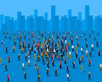 Large group of people over the city. Business concept. Vector illustration royalty free illustration