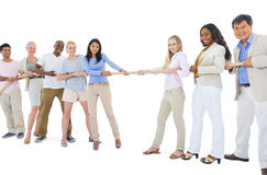 Large Group of People Pulling Rope Royalty Free Stock Photo