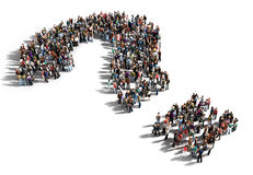 Large group of people with questions. Thinking concept, or quest for answers on a white background Vector Illustration