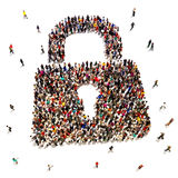 Large group of people that are seeking security. Protection , internet , identity theft , home protection concept Stock Photography
