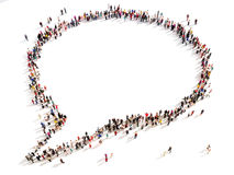 Large group of people in the shape of a chat bubble. Stock Photos