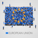 Large group of people in the shape of European union flag. Europe. stock illustration