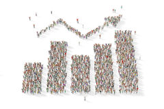 Large group of people in the shape of a graph. 3D illustrated Stock Image