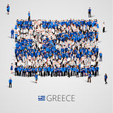 Large group of people in the shape of Greece flag. Hellenic Republic. Royalty Free Stock Photos