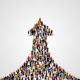 Large group of people in the shape of a grossing arrow. Way to success. Business concept. Royalty Free Stock Image